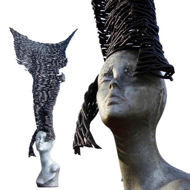 Sculpture contemporaine de Marius Dansou, une coiffe aérienne