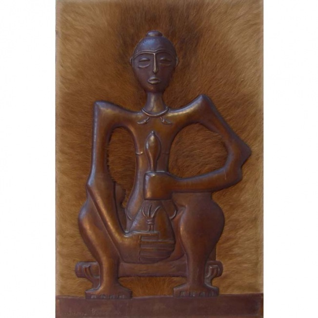 sculpture sur tableau, art contemporain du congo