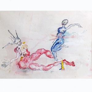 peinture de dominique zinkpe, une plongée dans son univers et ses personnages andromorphes